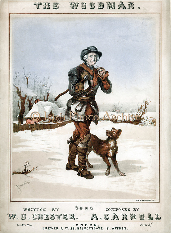 The Woodman' setting off to work in snowy landscape, axe under arm and billhook tucked in belt, with pipe for comfort and dog for company. Coloured lithograph from cover of song with lyrics by WD Chester, composer A Carroll