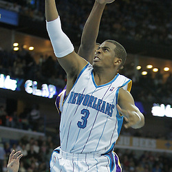 23 December 2008:  New Orleans Hornets guard Chris Paul (3) shoots during a 100-87 loss by the New Orleans Hornets to the Los Angeles Lakers at the New Orleans Arena in New Orleans, LA. .