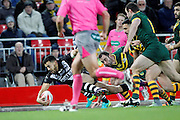 New Zealand's Jordan Kahu gets down in the corner to add another try during the Ladbrokes Four Nations match between Australia and New Zealand at Anfield, Liverpool, England on 20 November 2016. Photo by Craig Galloway.