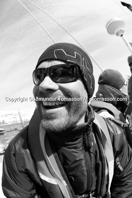 Kai Kantanen onboard the sailboat Aurora, Iceland.<br /> <br /> Images from an ski touring adventure to J&ouml;kulfir&eth;ir, a series of fjords in west Iceland, with Bergmenn Mountain Guides and Borea Adventures. The tour takes skiers from fjord to fjord with the sail boat Aurora as a overnight base.