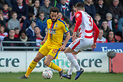 Crystal Palace midfielder Andros Townsend (10) & Doncaster Rovers defender Danny Andrew (3) during the The FA Cup 5th round match between Doncaster Rovers and Crystal Palace at the Keepmoat Stadium, Doncaster, England on 17 February 2019.