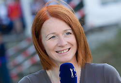 Polona Bertoncelj, journalist of TV Slovenija during Ski Jumping Summer Continental Cup in Kranj and last jump of Primoz Peterka's career, one of the best ski jumpers in history, on July 2, 2011, in Kranj, Slovenia. (Photo by Vid Ponikvar / Sportida)