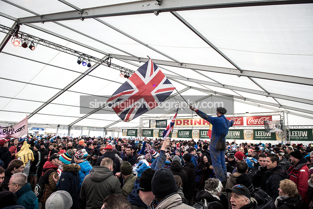 UCI Cyclo-cross World Championships in Valkenburg 2018. The beer tent. Photo by Simon Gill.