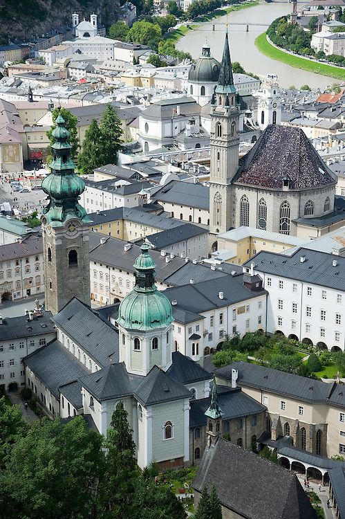 Sandwiched between the Mönchsberg cliffs and the Salzach River, Salzburg's Altstadt (Old City) is seen from the Hohensalzburg Fortress.