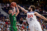 Real Madrid's Sergio Llull and Unicaja Malaga's Alberto Diaz during semi finals of playoff Liga Endesa match between Real Madrid and Unicaja Malaga at Wizink Center in Madrid, May 31, 2017. Spain.<br /> (ALTERPHOTOS/BorjaB.Hojas)