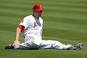 ANAHEIM, CA - JULY 21:  Mark Trumbo #44 of the Los Angeles Angels of Anaheim stretches before the game against the Texas Rangers on July 21, 2011 at Angel Stadium in Anaheim, California. The Angels won the game in a 1-0 shutout. (Photo by Paul Spinelli/MLB Photos via Getty Images) *** Local Caption *** Mark Trumbo