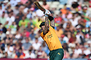 Alex Hales of Notts Outlaws plays a lofted drive which clears the boundary during the Vitality T20 Finals Day 2019 match between Notts Outlaws and Worcestershire Rapids at Edgbaston, Birmingham, United Kingdom on 21 September 2019.