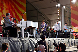 27 April 2012. New Orleans, Louisiana,  USA. .New Orleans Jazz and Heritage Festival. .The Beach Boys take to the stage to kick off their 50th anniversary tour. Brian Wilson, (L/R) Al Jardine, Mike Love, David Marks and Bruce Johnston on stage..Photo; Charlie Varley.