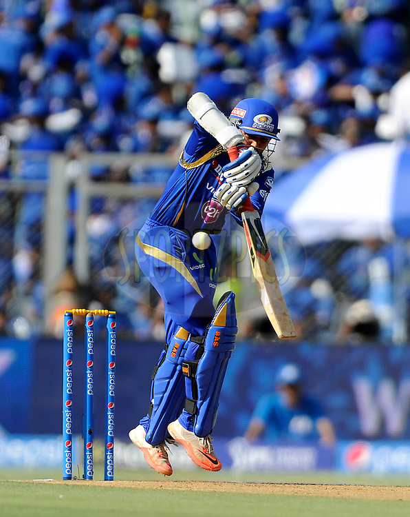 Parthiv Patel of Mumbai Indians bats during match 23 of the Pepsi IPL 2015 (Indian Premier League) between The Mumbai Indians and The Sunrisers Hyferabad held at the Wankhede Stadium in Mumbai India on the 25th April 2015.<br /> <br /> Photo by:  Pal Pillai / SPORTZPICS / IPL