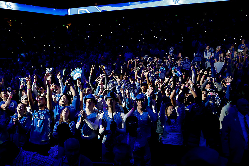 The eRUPPtion zone cheers prior to the game between the Kansas Jayhawks and the Kentucky Wildcats on Saturday January 28, 2017 at Rupp Arena in Lexington, Ky. Photo by Michael Reaves | Staff