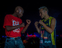 CARNIVAL CITY, JOHANNESBURG, SOUTH AFRICA - 22 FEBRUARY 2014: Charlie Weyer and Nkazimulo Zulu during face-off at EFC 27 inside Carnival City, Johannesburg, South Africa. (Photo by Anton Geyser)