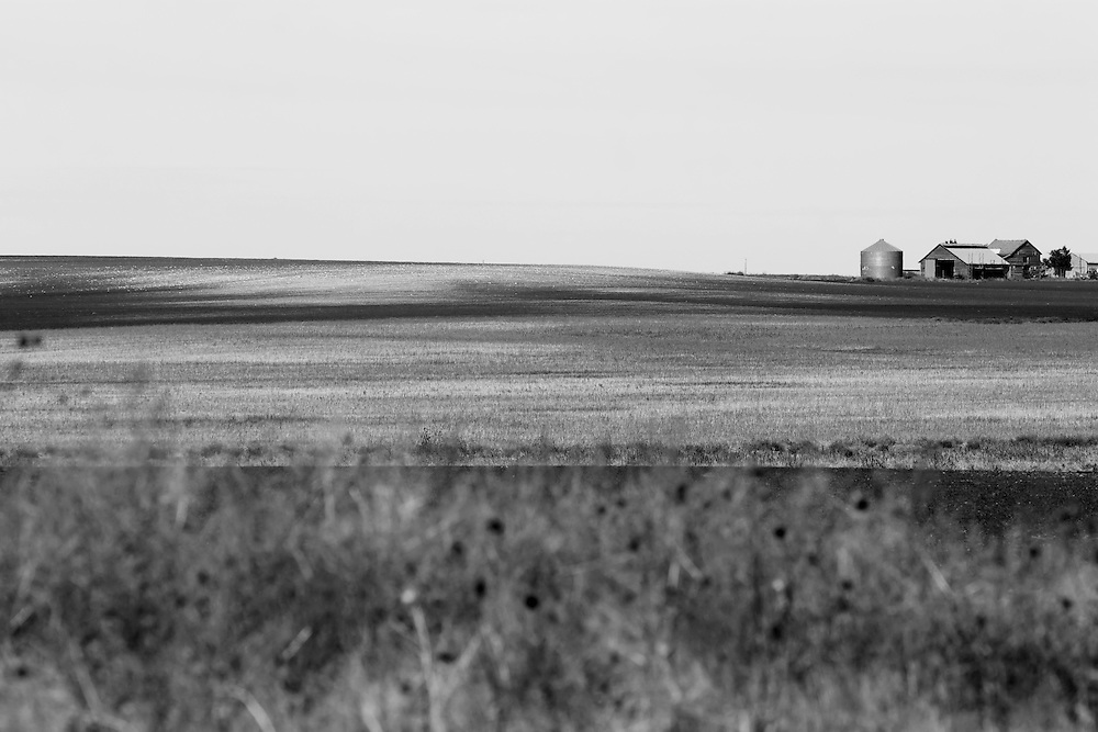 An old farm homestead is seen on the rolling hills of far western Nebraska.