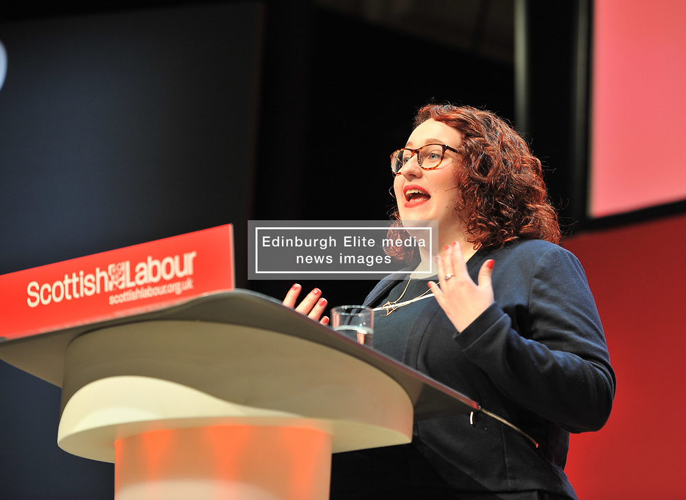 Danielle Rowley, MP for Midlothian gives a speech at the Scottish Labour conference at the Caird Hall in Dundee.<br /> <br /> © Dave Johnston / EEm