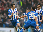 Brighton player Jamie Murphy celebrates his goal during the Sky Bet Championship match between Brighton and Hove Albion and Milton Keynes Dons at the American Express Community Stadium, Brighton and Hove, England on 7 November 2015. Photo by Bennett Dean.