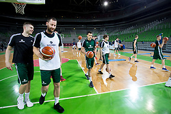 Edo Muric, Sasa Zagorac during practice session of Slovenian National Basketball team before qualification matches for FIBA Basketball World Cup 2019, on February 20, 2017 in Arena Stozice, Ljubljana, Slovenia. Photo by Urban Urbanc / Sportida