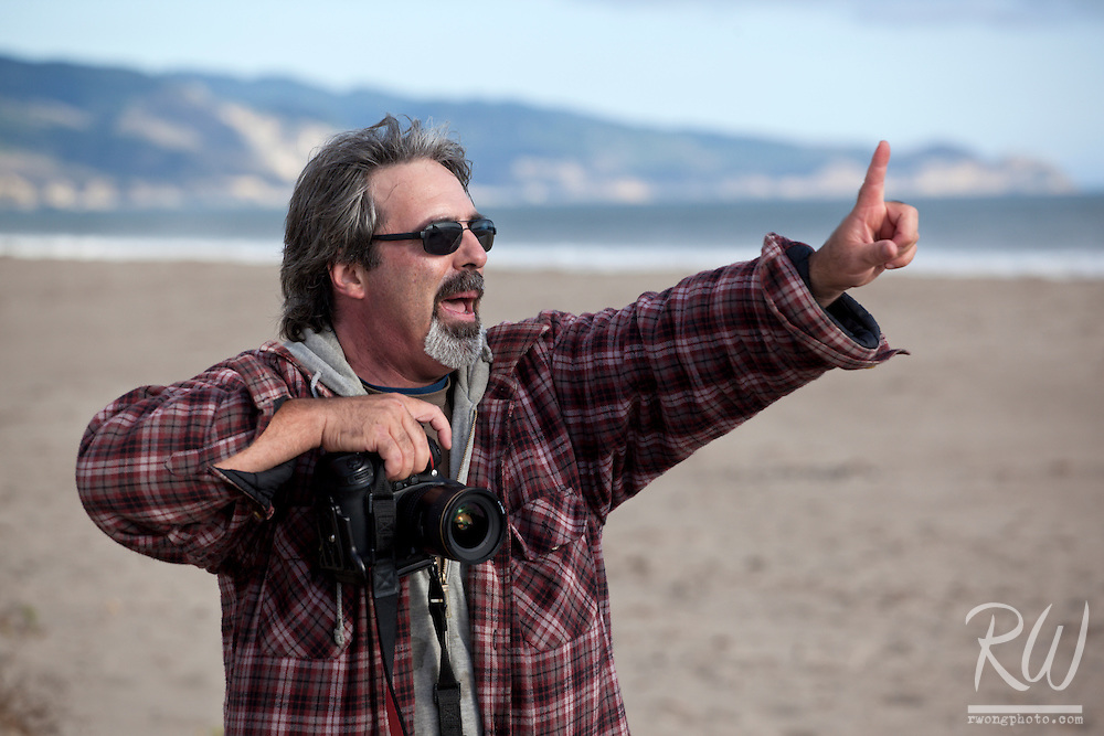 Photographer Gary Crabbe Teaching the Panoramic Point Reyes Photo Workshop at Limantour Beach