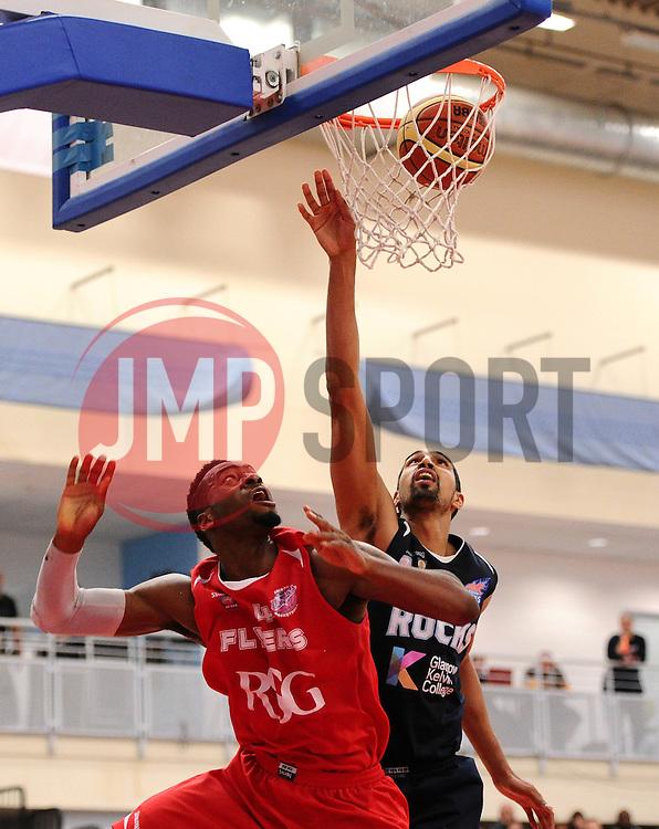 Bristol Flyers' Alif Bland scores a basket  - Photo mandatory by-line: Joe Meredith/JMP - Mobile: 07966 386802 - 11/04/2015 - SPORT - Basketball - Bristol - SGS Wise Campus - Bristol Flyers v Glasgow Rocks - British Basketball League