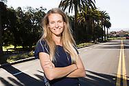 Petra Persson på Palm Drive, Stanford University, Kalifornien.
