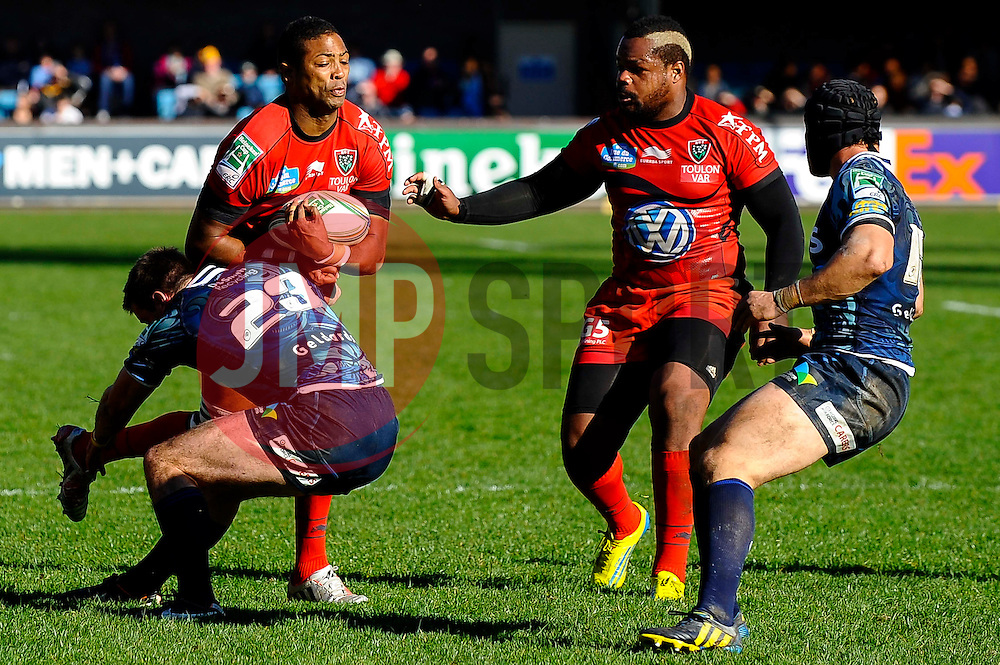 Toulon Full Back (#15) Delon Armitage is tackled by Cardiff replacement (#23) Dafydd Hewitt during the second half of the match - Photo mandatory by-line: Rogan Thomson/JMP - Tel: Mobile: 07966 386802 21/10/2012 - SPORT - RUGBY - Cardiff Arms Park - Cardiff. Cardiff Blues v Toulon (RC Toulonnais) - Heineken Cup Round 2