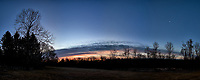 Backyard winter dawn panorama with the last quarter moon. Composite of 10 images taken with a Fuji X-T1 camera and 16 mm f/1.4 lens (ISO 200, 16 mm, f/8, 1/60 sec). Raw images processed with Capture One Pro and AutoPano Giga Pro.
