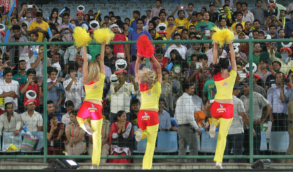 CSK cheerleaders performed  during match 26 of the Pepsi Indian Premier League Season 2014 between the Delhi Daredevils and the Chennai Superkings held at the Ferozeshah Kotla cricket stadium, Delhi, India on the 5th May  2014<br /> <br /> Photo by Arjun Panwar / IPL / SPORTZPICS<br /> <br /> <br /> <br /> Image use subject to terms and conditions which can be found here:  http://sportzpics.photoshelter.com/gallery/Pepsi-IPL-Image-terms-and-conditions/G00004VW1IVJ.gB0/C0000TScjhBM6ikg
