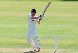 Durham's Paul Collingwood flicks the ball for the bowling of Somerset's Peter Trego- Photo mandatory by-line: Harry Trump/JMP - Mobile: 07966 386802 - 13/04/15 - SPORT - CRICKET - LVCC County Championship - Day 2 - Somerset v Durham - The County Ground, Taunton, England.