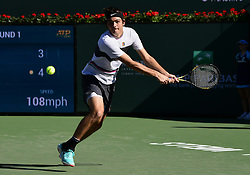 March 8, 2019 - Indian Wells, CA, U.S. - INDIAN WELLS, CA - MARCH 08: Taylor Fritz (USA) runs after the ball in the first set of a match during the BNP Paribas Open played at the Indian Wells Tennis Garden in Indian Wells, CA. (Photo by John Cordes/Icon Sportswire) (Credit Image: © John Cordes/Icon SMI via ZUMA Press)