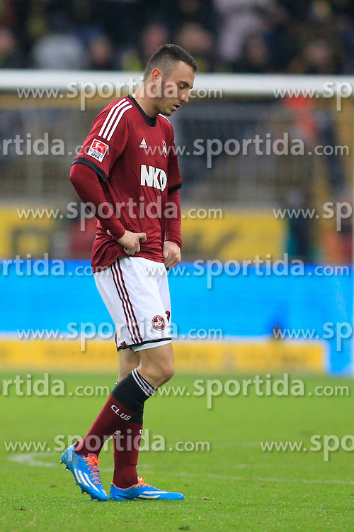 01.03.2014, Signal Iduna Park, Dortmund, GER, 1. FBL, Borussia Dortmund vs 1. FC Nuernberg, 23. Runde, im Bild Josip Drmic (1 FC Nuernberg #18) enttaeuscht, niedergeschlagen, traurig, Emotion // during the German Bundesliga 23th round match between Borussia Dortmund and 1. FC Nuernberg at the Signal Iduna Park in Dortmund, Germany on 2014/03/01. EXPA Pictures &copy; 2014, PhotoCredit: EXPA/ Eibner-Pressefoto/ Schueler<br /> <br /> *****ATTENTION - OUT of GER*****