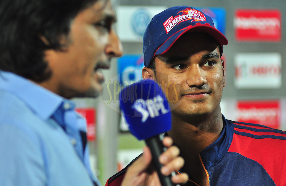 Delhi Daredevils captian Pawan Negi at the resenttion ceremony  during match 43 of the the Indian Premier League ( IPL) 2012  between he Rajasthan Royals and the Delhi Daredevils held at the Sawai Mansingh Stadium in Jaipur on the 1st May 2012..Photo by Arjun Panwar/IPL/SPORTZPICS