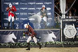 Podium GCT Antwerp<br /> 1. Simon Delestre, (FRA)<br /> 2. Hans-Dieter Dreher, (GER)<br /> 3. Edwina Alexander, (AUS)<br /> Grand Prix CSI 5*<br /> Longines Global Champions Tour - Antwerp 2015<br />  © Hippo Foto - Dirk Caremans<br /> 25/04/15