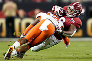Jan 7, 2019; Santa Clara, CA, USA; Alabama Crimson Tide running back Josh Jacobs (8) is tackled by Clemson Tigers defensive back K'Von Wallace (12) during the second quarter in the 2019 College Football Playoff Championship game at Levi's Stadium.