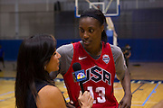 Sylvia Fowles is interviewed after the 2012 USA Women's Basketball team practice at Bender Arena  in Washington, DC.  July 15, 2012  (Photo by Mark W. Sutton)