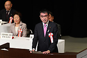 Japanese Foreign Minister Taro Kono delivers a speech during a Northern Territories Day rally to give clarification about the situation in the Northern Territories in Japan, at the National Theater in Tokyo on February 7, 2018. 07/02/2018-Tokyo, JAPAN