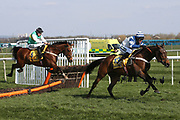 William Henry ridden by Nico De Boinville and Lord Napier ridden by James Bowen navigate the last hurdle in the 3.40pm The Ryanair Stayers' (Registered as the Liverpool) Hurdle (Grade 1) during the Grand National Meeting at Aintree, Liverpool, United Kingdom on 6 April 2019.