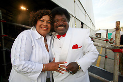 April 27 2007. New Orleans, Louisiana. <br /> The New Orleans Jazz and Heritage Festival. Music legend Percy Sledge and his wife Rosa following a performance with the Blue Eyed Soul Revue play the Southern Comfort Blues Tent. Wow, what a performance!<br /> Photo credit; Charlie Varleyvarleypix.com