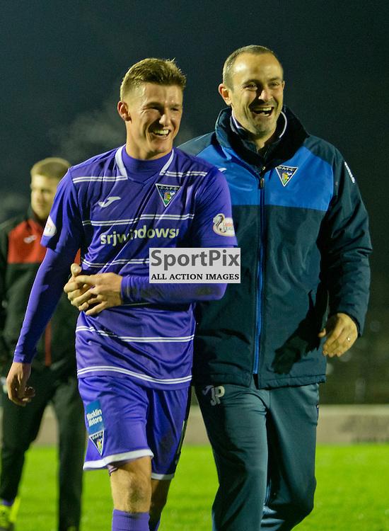 Ayr United v Dunfermline Athletic SPFL League One Season 2015/16 Somerset Park 12 December 2015<br /> David Hopkirk celebrates at full time with coach John Potter<br /> CRAIG BROWN | sportPix.org.uk