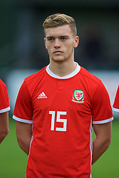 NEWPORT, WALES - Monday, October 14, 2019: Wales' Cameron Evans lines-up before an Under-19's International Friendly match between Wales and Austria at Dragon Park. (Pic by David Rawcliffe/Propaganda)