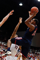 February 3, 2011; Stanford, CA, USA;  Arizona Wildcats forward Derrick Williams (23) shoots a one handed shot over Stanford Cardinal forward/center Josh Owens (13) during the second half at Maples Pavilion.  Arizona defeated Stanford 78-69.