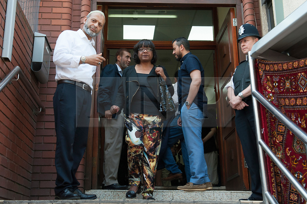 © Licensed to London News Pictures. 19/06/2017. Labour shadow home secretary DIANE ABBOTT is seen leaving Finsbury Park  mosque following a meeting with faith and community leaders.  Mrs ABBOTT and The Labour Party leader Jeremy Corbyn visited the mosque after a van was used to run down members of the muslim community as they finished taraweeh, Ramadan evening prayers. Photo credit: Guilhem Baker/LNP