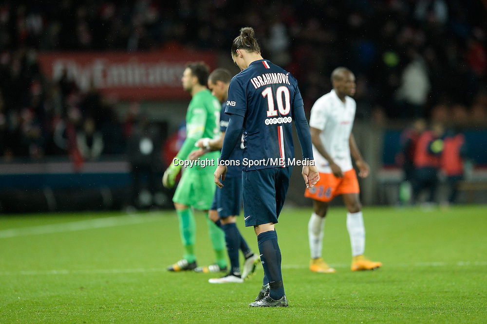 Deception - Zlatan IBRAHIMOVIC - 20.12.2014 - Paris Saint Germain / Montpellier - 17eme journee de Ligue 1 -<br />