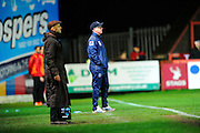 Exeter City manager Paul Tisdale and Luton Town caretaker manager Andy Awford on the sideline during the Sky Bet League 2 match between Exeter City and Luton Town at St James' Park, Exeter, England on 19 December 2015. Photo by Graham Hunt.