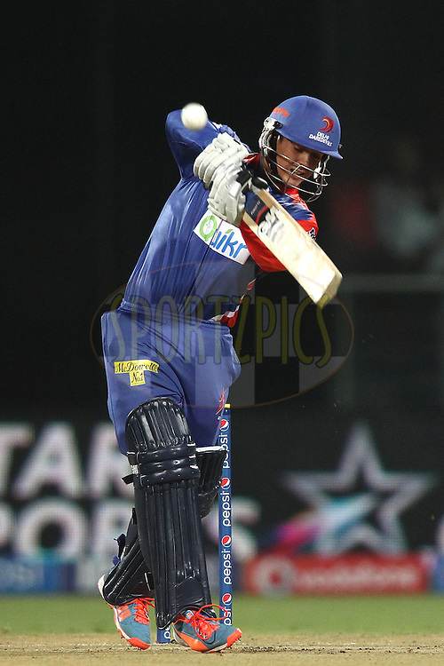 Quinton de Kock of the Delhi Daredevils hits over the top for a boundary during match 26 of the Pepsi Indian Premier League Season 2014 between the Delhi Daredevils and the Chennai Super Kings held at the Feroze Shah Kotla cricket stadium, Delhi, India on the 5th May  2014<br /> <br /> Photo by Shaun Roy / IPL / SPORTZPICS<br /> <br /> <br /> <br /> Image use subject to terms and conditions which can be found here:  http://sportzpics.photoshelter.com/gallery/Pepsi-IPL-Image-terms-and-conditions/G00004VW1IVJ.gB0/C0000TScjhBM6ikg
