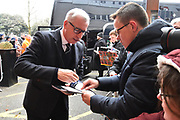 West Bromwich Albion manager Alan Pardew signing his autograph for waiting fans on arrival before the Premier League match between Bournemouth and West Bromwich Albion at the Vitality Stadium, Bournemouth, England on 17 March 2018. Picture by Graham Hunt.