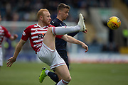 4th May 2019, Dens Park, Dundee, Scotland; Ladbrokes Premiership football, Dundee versus Hamilton Academical; Ziggy Gordon of Hamilton Academical clears from Andrew Nelson of Dundee