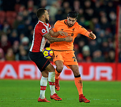 SOUTHAMPTON, ENGLAND - Sunday, February 11, 2018: Liverpool's Emre Can and Southampton's Ryan Bertrand during the FA Premier League match between Southampton FC and Liverpool FC at St. Mary's Stadium. (Pic by David Rawcliffe/Propaganda)