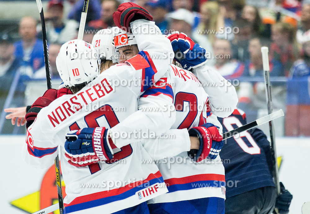 Players of Norway celebrate when they scored second goal during Ice Hockey match between Slovakia and Norway at Day 6 in Group B of 2015 IIHF World Championship, on May 6, 2015 in CEZ Arena, Ostrava, Czech Republic. Photo by Vid Ponikvar / Sportida