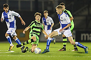 Forest Green Rovers Jordan Stevens(8) tackles Bristol Rovers Tom Mehew(4) during the The FA Youth Cup match between Bristol Rovers and Forest Green Rovers at the Memorial Stadium, Bristol, England on 2 November 2017. Photo by Shane Healey.