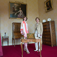 BBC Antiques Roadshow filming at Scone Palace in Perthshire....09.07.13<br /> Pictured presenter Fiona Bruce with Lady Stormont in the Ambassador's Room named after the 2nd Earl who was British Ambassador to France looking at a marquetry piece made by Charles Topino (1753-1803) and depicts Fontainebleu & the painting on the wall is attributed to Johann Zoffany and depicts Dido Elizabeth Belle daughter of Admiral John Lindsay and her cousin Lady Elizabeth Murray. Dido was the inspiration for the period drama 'Belle' produced by Damian Jones and is due for release in 2014.<br /> Picture by Graeme Hart.<br /> Copyright Perthshire Picture Agency<br /> Tel: 01738 623350  Mobile: 07990 594431
