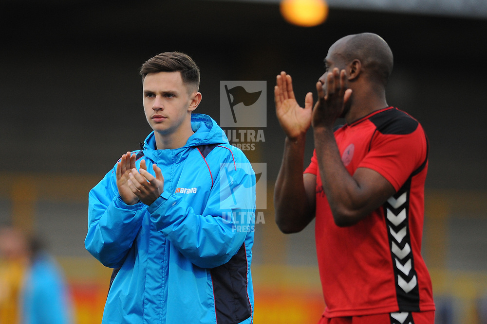 TELFORD COPYRIGHT MIKE SHERIDAN 2/3/2019 - Ryan Barnett of AFC Telford (on loan from Shrewsbury Town Football Club) and Theo Streete of AFC Telford during the National League North fixture between Boston United and AFC Telford United at the York Street Jakemans Stadium