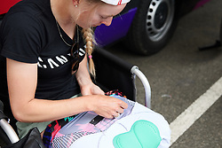 Hannah Barnes (GBR) pins her numbers from the inside for extra aero advantage at Emakumeen Bira 2018 - Stage 2, a 26.6 km time trial from Agurain to Gasteiz, Spain on May 20, 2018. Photo by Sean Robinson/Velofocus.com